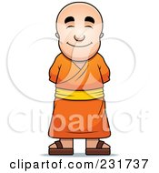 Royalty Free RF Clipart Illustration Of A Pleasant Buddhist Monk