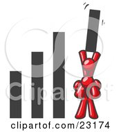 Clipart Illustration Of A Red Man On Another Mans Shoulders Holding Up A Bar In A Graph by Leo Blanchette