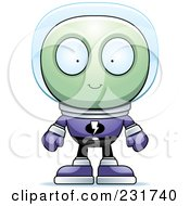 Royalty Free RF Clipart Illustration Of A Green Alien In A Purple Space Suit by Cory Thoman