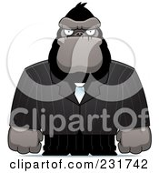 Royalty Free RF Clipart Illustration Of A Strong Ape In A Pinstripe Suit by Cory Thoman