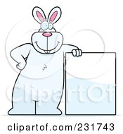 Royalty Free RF Clipart Illustration Of A Big White Rabbit Leaning On A Blank Sign Board