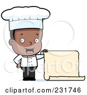 Royalty Free RF Clipart Illustration Of A Black Chef Boy Holding A Menu Scroll