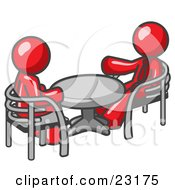 Clipart Illustration Of Two Red Business Men Sitting Across From Eachother At A Table During A Meeting