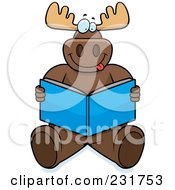 Royalty Free RF Clipart Illustration Of A Big Moose Sitting And Reading