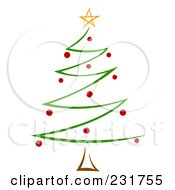 Royalty Free RF Clipart Illustration Of A Green And Red Zig Zag Christmas Tree