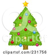 Royalty Free RF Clipart Illustration Of A Big Green Christmas Tree
