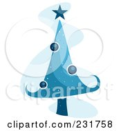 Royalty Free RF Clipart Illustration Of A Blue Christmas Tree