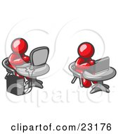 Clipart Illustration Of Two Red Men Employees Working On Computers In An Office One Using A Desktop The Other Using A Laptop