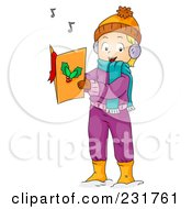 Royalty Free RF Clipart Illustration Of A Christmas Girl Singing Songs
