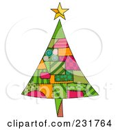 Royalty Free RF Clipart Illustration Of A Christmas Tree Of Patches by BNP Design Studio