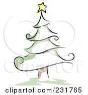 Royalty Free RF Clipart Illustration Of A Sketched Christmas Tree With Green Accents