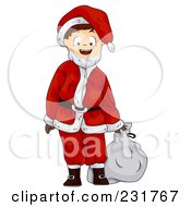 Royalty Free RF Clipart Illustration Of A Boy In A Santa Suit by BNP Design Studio
