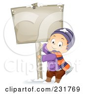 Royalty Free RF Clipart Illustration Of A Winter Boy Pulling On A Sign Pole