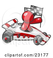 Clipart Illustration Of A Red Man Driving A Fast Race Car Past Flags While Racing