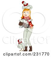 Royalty Free RF Clipart Illustration Of A Christmas Woman With Three French Hens by BNP Design Studio