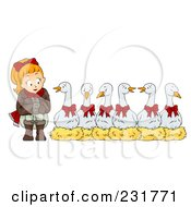 Royalty Free RF Clip Art Illustration Of A Christmas Woman With Six Geese A Laying by BNP Design Studio