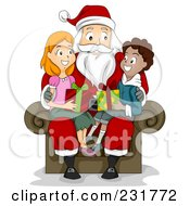 Royalty Free RF Clipart Illustration Of A Christmas Boy And Girl Sitting On Santas Lap