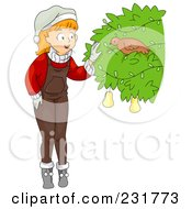 Royalty Free RF Clipart Illustration Of A Christmas Girl Discovering A Partridge In A Pear Tree by BNP Design Studio
