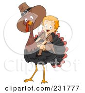 Royalty Free RF Clipart Illustration Of A Thanksgiving Pilgrim Boy Riding A Big Turkey