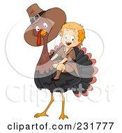 Thanksgiving Pilgrim Boy Riding A Big Turkey