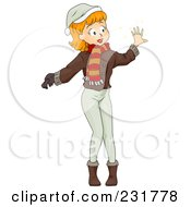 Royalty Free RF Clipart Illustration Of A Christmas Woman With Five Golden Rings by BNP Design Studio