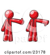 Clipart Illustration Of A Red Business Man Giving The Thumbs Up Then The Thumbs Down by Leo Blanchette