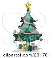 Royalty Free RF Clipart Illustration Of A Star On Top Of A Christmas Tree With Gifts Below by BNP Design Studio