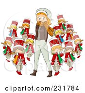 Royalty Free RF Clipart Illustration Of A Christmas Woman With Eleven Pipers Piping by BNP Design Studio