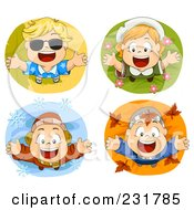 Royalty Free RF Clipart Illustration Of A Digital Collage Of Happy Seasonal Kids