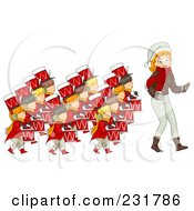 Royalty Free RF Clipart Illustration Of A Christmas Woman With Twelve Drummers Drumming by BNP Design Studio