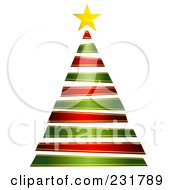 Royalty Free RF Clipart Illustration Of A Red And Green Ribbon Christmas Tree