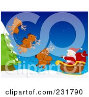 Royalty Free RF Clipart Illustration Of Santas Magic Reindeer Flying Upwards To Avoid A Tree by BNP Design Studio