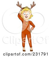 Royalty Free RF Clipart Illustration Of A Christmas Girl In A Reindeer Costume by BNP Design Studio