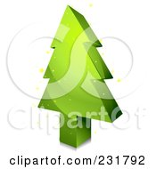 Royalty Free RF Clipart Illustration Of A 3d Blocky Green Christmas Tree by BNP Design Studio