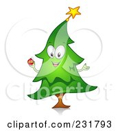 Royalty Free RF Clipart Illustration Of A Happy Christmas Tree Holding A Bauble