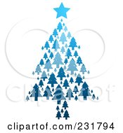 Royalty Free RF Clipart Illustration Of A Blue Christmas Tree Formed Of Blue Evergreens