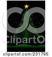 Royalty Free RF Clipart Illustration Of A Green Firework Christmas Tree On Black by BNP Design Studio