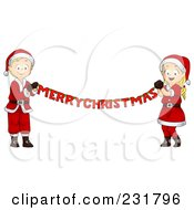 Royalty Free RF Clipart Illustration Of A Christmas Boy And Girl Holding A Merry Christmas Banner by BNP Design Studio