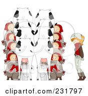 Royalty Free RF Clipart Illustration Of A Christmas Woman With Eight Maids Milking