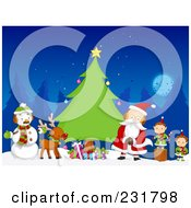 Royalty Free RF Clipart Illustration Of A Snowman Reindeer Santa And Elves By An Evergreen Tree At Night
