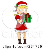 Royalty Free RF Clipart Illustration Of A Happy Christmas Girl Holding A Gift
