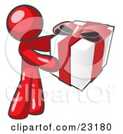 Clipart Illustration Of A Thoughtful Red Man Holding A Christmas Birthday Valentines Day Or Anniversary Gift Wrapped In White Paper With Red Ribbon And A Bow