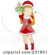 Christmas Girl Holding Up Mistletoe