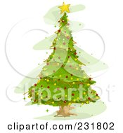Royalty Free RF Clipart Illustration Of A Pretty Green Christmas Tree