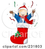 Royalty Free RF Clipart Illustration Of A Christmas Boy In A Stocking by BNP Design Studio
