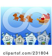 Royalty Free RF Clipart Illustration Of Santas Magic Reindeer Flying Above A Village by BNP Design Studio