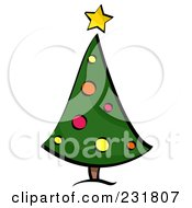Royalty Free RF Clipart Illustration Of A Retro Curved Christmas Tree by BNP Design Studio