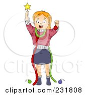 Royalty Free RF Clipart Illustration Of A Christmas Girl Acting Like A Christmas Tree by BNP Design Studio