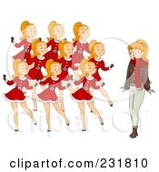 Royalty Free RF Clipart Illustration Of A Christmas Woman With Nine Dancing Ladies