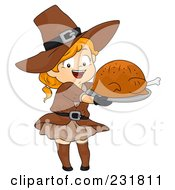 Royalty Free RF Clipart Illustration Of A Thanksgiving Pilgrim Girl Holding A Roasted Turkey by BNP Design Studio
